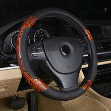 LUNASBORE Racing Wood shavings Car Steering Wheel Cover set Leather Covers 36/38/40cm For BMW/Honda/AUDI/Ford/Toyota/volkswagen(China)
