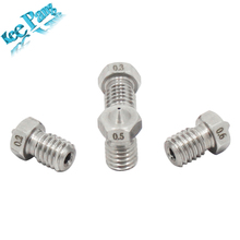 5pcs/lot Stainless Steel Nozzle 0.2mm 0.3mm 0.5mm 0.4mm M6 For E3D V5 V6 Extruder 3D Printer Parts 1.75mm Filament Threaded Part
