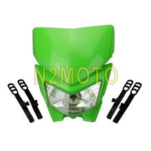 Universal Dirt Bike Motorcycle Motocross Green Headlight for KX KLX kLR KLE ZZR KDX 110 250 450 650 Streetfighter Headlight