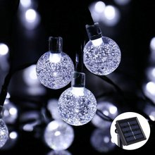 Solar Powered String Lights Outdoor Globe Christmas Light 19.7ft 30 Led Crystal Ball Decoration for Patio ,Garden ,Wedding,Party(China)