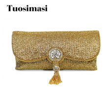 Female Vintage Clutch Indian Retro Clutch Bag 2017 new design handmade tassel women bags(C041)(China)