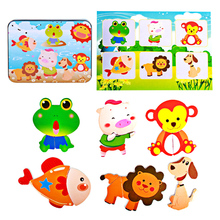 Wooden Toys Puzzles Magnetic 3D Puzzle Toy Cute Bear Jigsaw Puzzle Cartoon Child Educatinal Toys for children with Iron Box