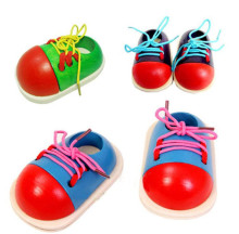 New Cute Baby Kids Montessori Educational Toys Children Wooden Toys Toddler Lacing Shoes Early Education Teaching Aids