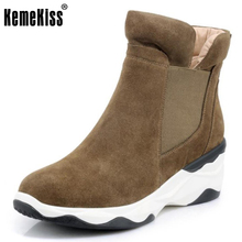 KemeKiss Women Real Leather Boots Soft Slip On Women Snow Boots Round Toe With Winter Fur Ankle Boots Ladies Footwear Size 34-39