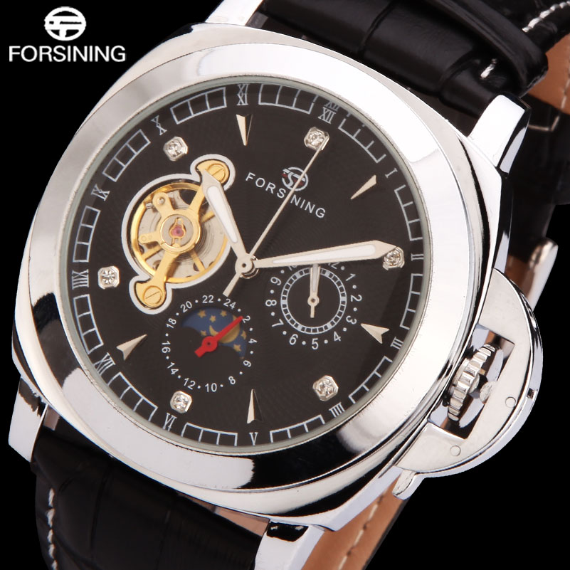 FORSINING fashion men mechanical watches hot male leather band watches mens luxury tourbillon wristwatches relogio masculino<br><br>Aliexpress