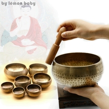 1 Set Copper Buddha Sound Bowl Alms Bowl Yoga Chinese Tibetan Meditation Singing Bowl With Hand Stick Metal Crafts GPD8121