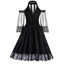 Buy Women sexy harajuku goth black a-line summer casual dress o neck half sleeve mesh fashion tassel dress see-through party dress for $16.98 in AliExpress store