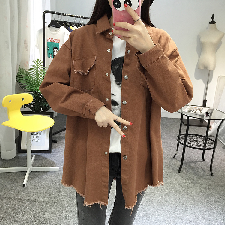 2018 Spring Autumn New Long Section Lapel Tassel Denim Jackets Women Loose Casual Long Sleeve Female\'S Thin Basic Jacket Coats (10)