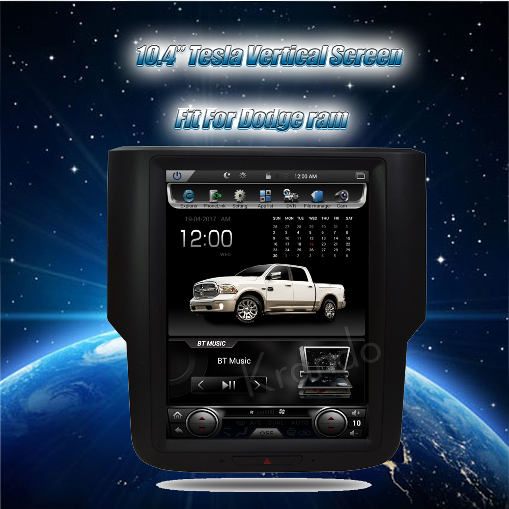 Krando Vertical screen android car radio multimedia for dodge RAM screen navigation with gps system (3)
