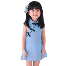 Chinese Style Kids Dress for Girls 2017 New Cheongsam Dress Girls Vintage Solid Color Sleeveless Princess Dresses Clothes 2-7Y(China)
