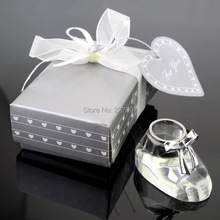 (100PCS/LOT) Choice Crystal Baby Shoe for Christening Favors Baby Shower Party Keepsakes Souvenirs Free Shipping By DHL(China)