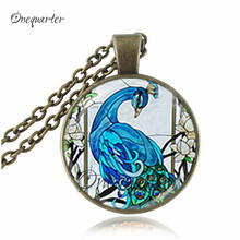Peacock necklace for bird lover glass cabochon animal pendant peafowl head picture statement necklace silver chain choker gifts(China)