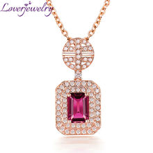 Solid 14K Rose Gold Genuine Pink Tourmaline Wedding Pendant Necklace New Year Real Diamond Gem Fine Jewelry Gift for Mom(China)