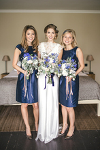 Popular Navy Blue Knee Length Bridesmaid Dresses Cheap 2015 Short Bridesmaids Wedding Party Dress
