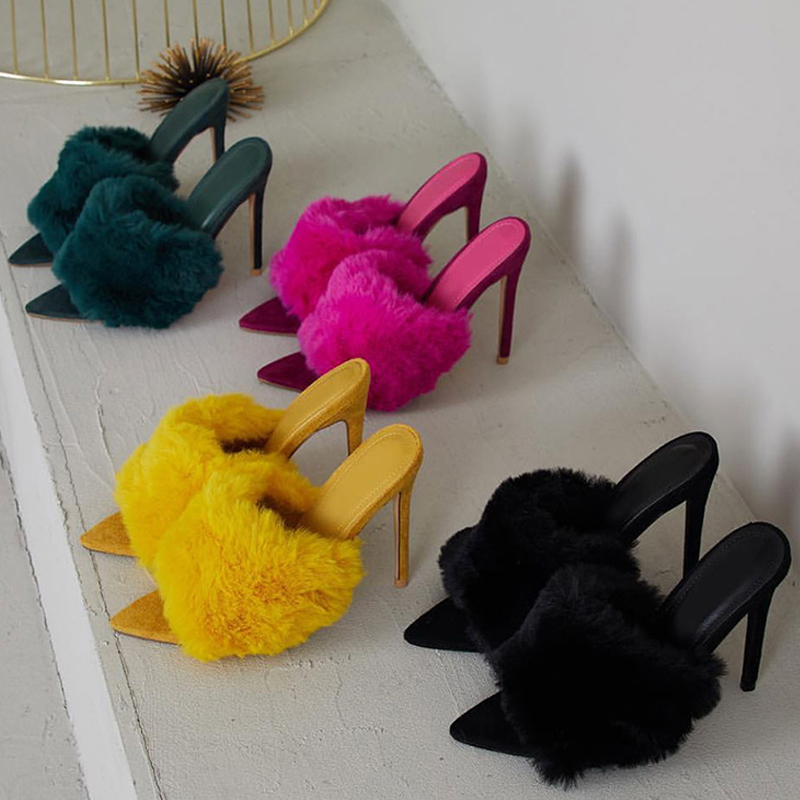 Women Shoes Slippers Sandals Rabbit-Fur High-Heel Evening-Party Candy-Color European-Station title=