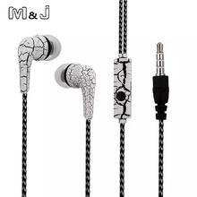 M&J Original Cell Phones Earphones Ice Cracks Design Earphone Earpiece with Microphone For iPhone Samsung earbuds for xiaomi(China)