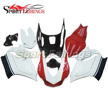 Racing Fiberglass White Red Fairings For Ducati 899 1199 1199s 12 13 2012 2013 Injection Motorcycle Fairing Kit Bodywork Panels(China)