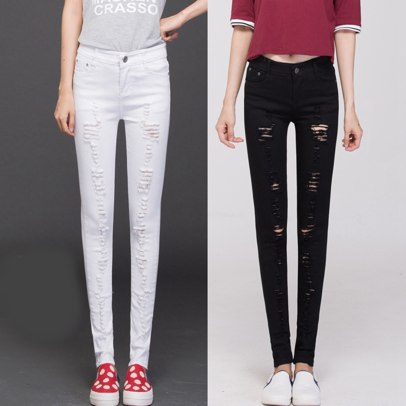 New Fashion Womens New Cut Out Ripped Punk Skinny Pants Jeans Jeggings Trousers Girls Hole Jean TrousersОдежда и ак�е��уары<br><br><br>Aliexpress