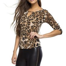 ROPALIA Women Blouse Half Sleeve Shirt Casual Women Clothing Lady Leopard Print Blouses(China)