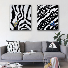 Free Shipping HD Oil Painting Zebra Pattern Insect Decoration Painting Home Decor On Canvas Modern Wall Prints Set of 2(China)