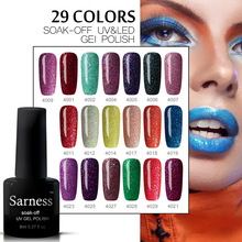 Sarness Hot Sale Color Gel Lacquer Shiny Color UV Gel Nail Polish Lucky Colorful Neon UV Gel Polish DIY Nail Art Glue Primer(China)