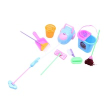 9pcs/lot House Cleaning Mop Broom Tools Pretend Play Toy Kit For Girls Dolls Accessories Kitchen fruit (Size: 1SET)(China)