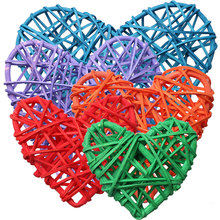 5Pcs/lot Colorful Heart Rattan Wicker Cane Decoration Balls for Home Garden Patio Wedding Birthday Party decoration(China)