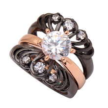 Wedding Ring Set 3 Chrysanthemum Flower Rings Rose Gold Color vintage Rings for women New Design Fashion Jewelry(China)