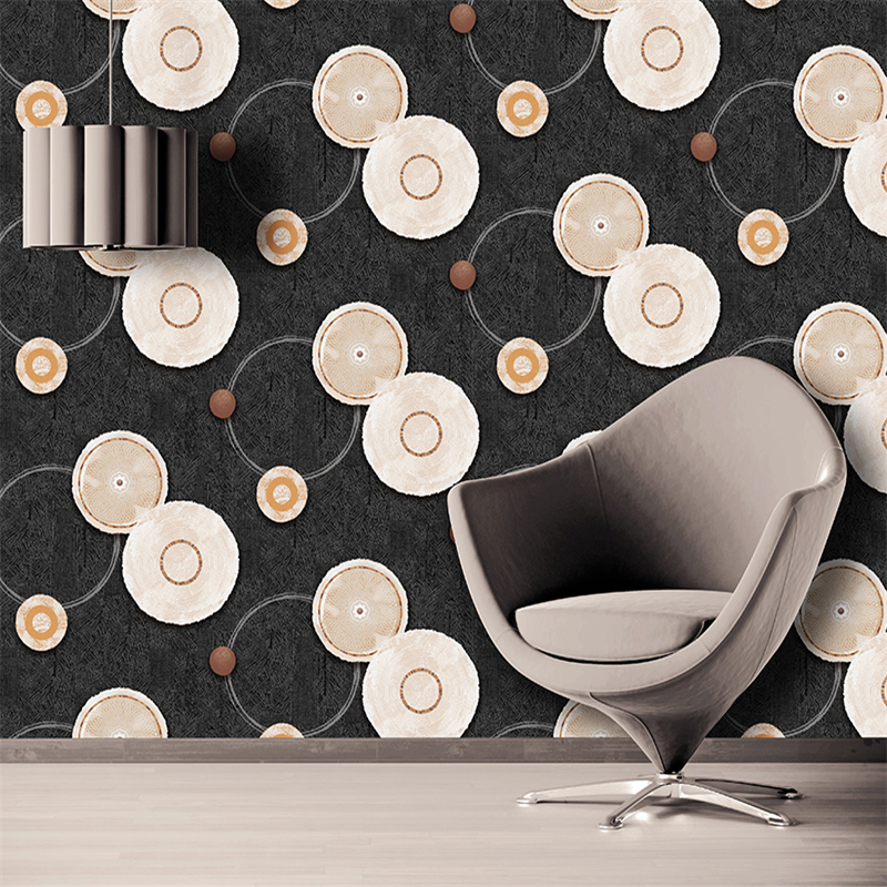 beibehang 3D solid solar circle deep embossed modern simple waterproof thick PVC wood colorful wallpaper Papel de parede<br>