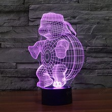 Colors Changeable creative gifts USB table lamp with touch sensor 3D led nightlight Turtle shape(China)