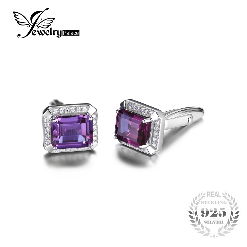JewelryPalace Men Luxury 8.6ct Alexandrites Created Sapphires Cufflinks S925 Sterling Silver Jewelry For Men Wedding Cufflinks(China)