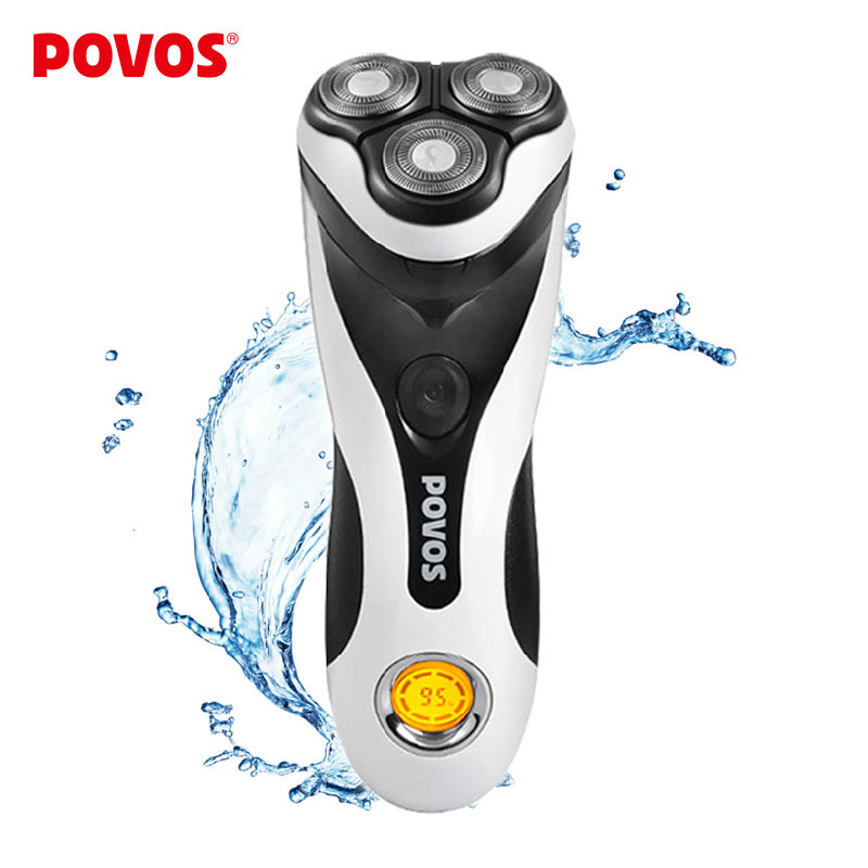 POVOS Men Washable Rechargeable Rotary Electric Shaver Razor with 3D Floating Structure 1 Hour Quick Charge Hair Removal PQ8602<br>