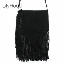 LilyHood 2017 Women Genuine Leather Bag Casual Long Fringe Tassel Plain Black Gothic Rock Music Festival Suede Shoulder Bags