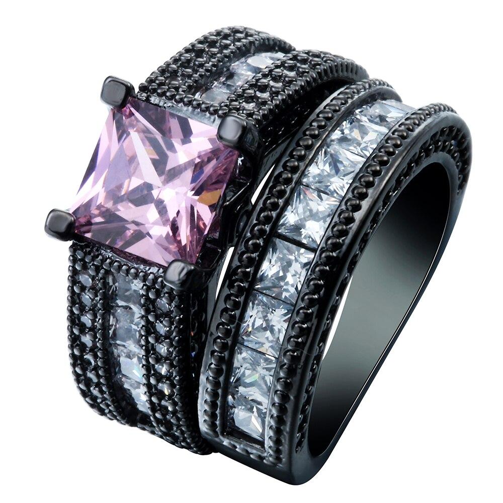 Vintage Pink Black Cz Finger Finger Rings Set New Luxury Fashion Love Pink  Zircon Wedding 2pcs
