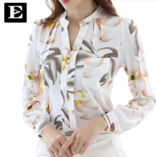 EveingAsky Women Big flowers Blouse Ladies Solid Elegant V-neck Blouses Long Sleeve OL Office Shirt Plus Size S-XXL 1712#