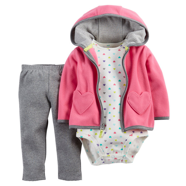 New Brand 2017 Baby Boy Girls 3 Pieces Sets Fashion Style Regualr Full Sleeve Heart Hooded Coat+O-Neck One Piece Romper+ Pants<br><br>Aliexpress