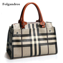 Luxury Brand Handbag Grid Stripes Women Bags Genuine Leather Ladies Briefcase Business Tote Bags Work Package Commute Bag Bolsas