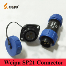 Weipu Connector SP21 2 3 4 5 7 9 12 Pin IP68  Cable Connector Plug 2-Hole Flange Socket Connector Dust Cap SP2110/P* SP2113/S*
