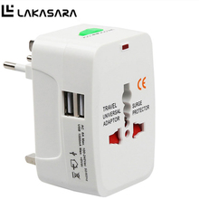 LAKASARA Universal Electric Plug Power Socket Adapter International Travel Adapter 2 USB Power Charger Converter