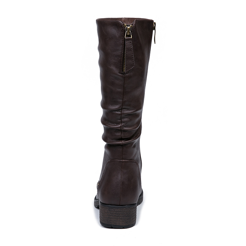 IMG_5620AIMEIGAO New Autumn Winter Mid-calf Women Boots Flats Heels Warm Plush PU Leather Boots High Quality Knee High Boots