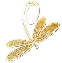 Bookmark bookmark in form decorated Dragonfly in metal gold for book