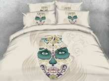 Royal Linen Source 4 Parts Per Set Bed Sheet Set Beautiful Woman with Day of the Dead Decoration 3d Bedding  Set