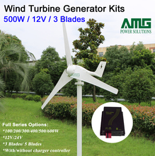 500W 12V 3 blades low wind start up horizontal boat windmill turbine generator + waterproof intelligent wind charger controller(China)