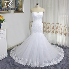 Vestido de noiva manga longa Sweetheart Sheer Bodice Applique Lace Mermaid Wedding Dress High Quality Bridal Dress Reals(China)