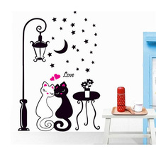 New Arrival Cat Wall Sticker For Kids Room Lamp and Butterflies Stickers Decor Decals Removable Cartoon lovely(China)