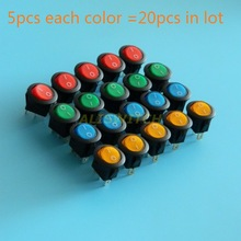 20pcs 4 colors 16A 12V LED Light Car Boat Round Rocker ON/OFF SPST Switch 3 Pins With LED,High Bright led red yellow green blue(China)