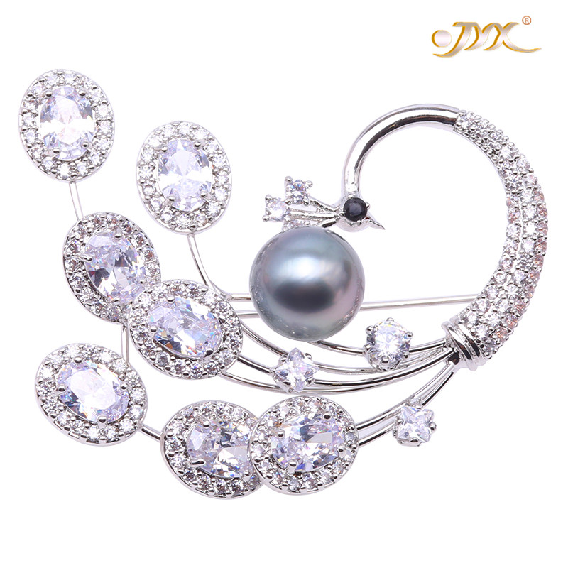 JYX Christmas Brooches Luxurious Pearl Brooch natural sea pearl 10.5mm Grey Tahitian Cultured Pearl Brooch Pin Christmas pandent