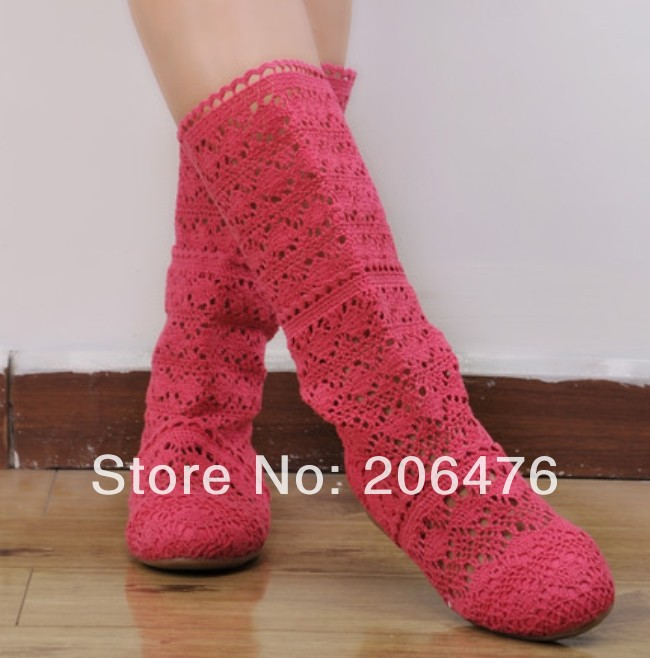 New Womens Cut-Outs Fashion Shoes Knitted Line Gauze Boots High-leg/ short Boots Summer Autumn Boots<br><br>Aliexpress