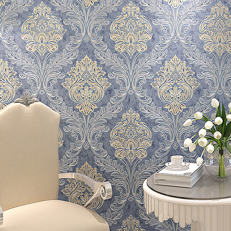 Blue European Style 3D Stereoscopic Relief Damask TV Background Wall Paper Flower Luxury Bedroom Living Room Non-woven Wallpaper<br>