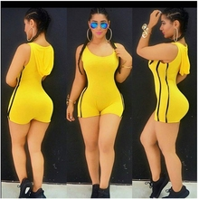 2017 Summer Bandage Jumpsuit Spandex Bodysuit One Piece Swimsuit Leotard Hoody Rompers Sexy Shorts Club Wear Casual Bodycon(China)